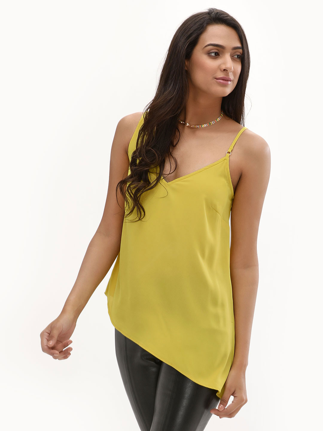 New Look Light Yellow Asymmetrical Trim Cami Top 1