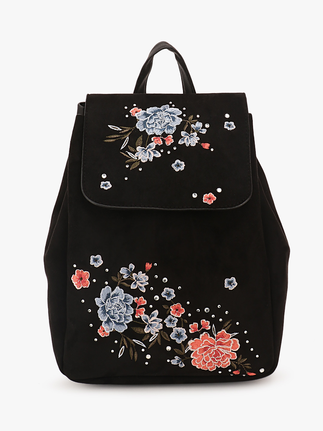 New Look Black Embroidered Backpack 1