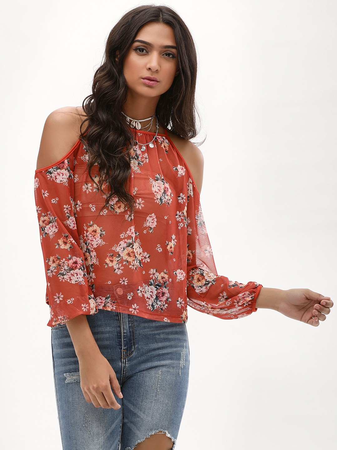 New Look Mid Brown Floral Mesh Cold Shoulder Top 1