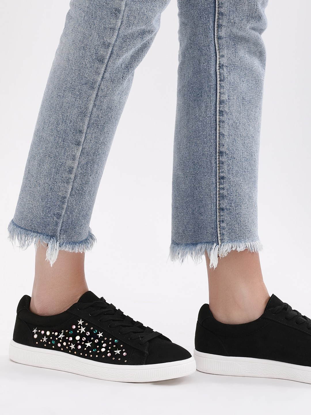 New Look Black Embellished Side Lace Up Shoes 1