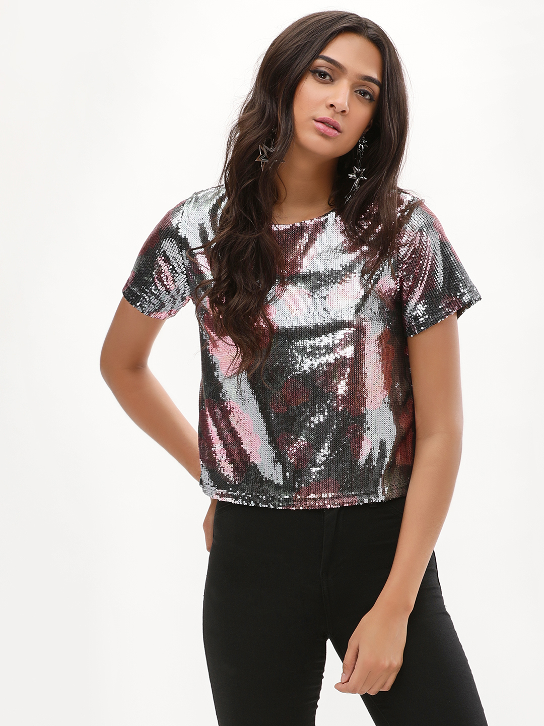 New Look BLACK PATTERN Sequin T-Shirt 1