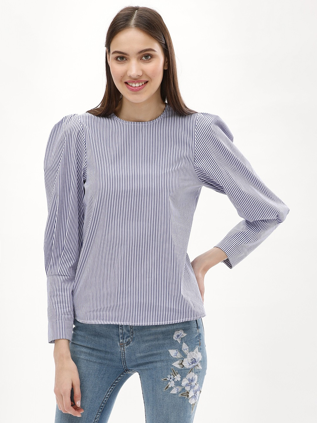 New Look BLUE PATTERN Striped Top 1