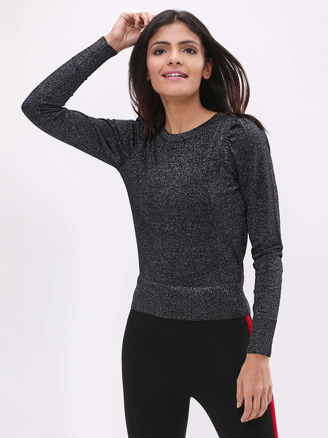 New Look Black Lurex Puff Sleeves Jumper 1