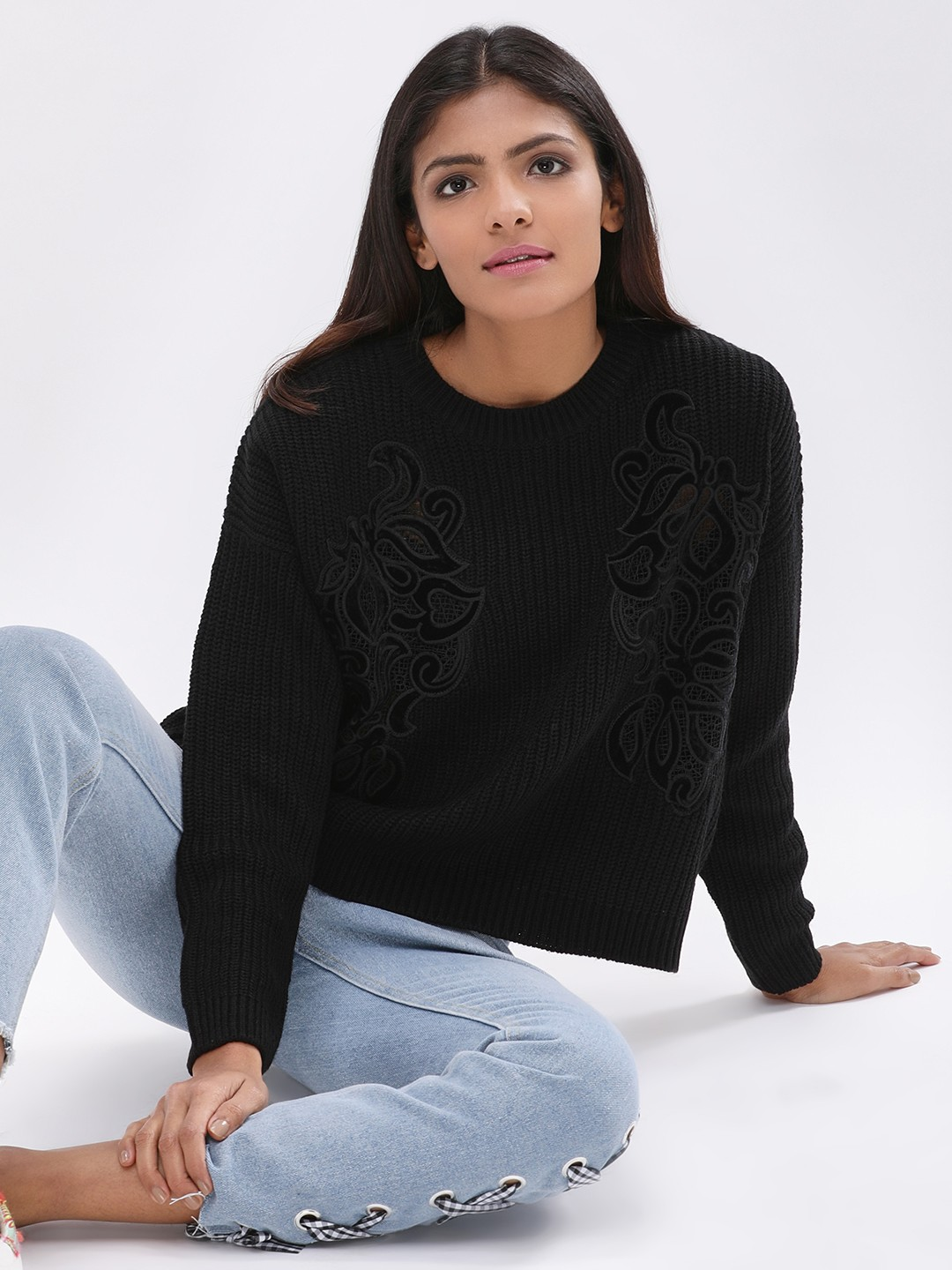 New Look Black Velvet Lace Patch Pullover 1