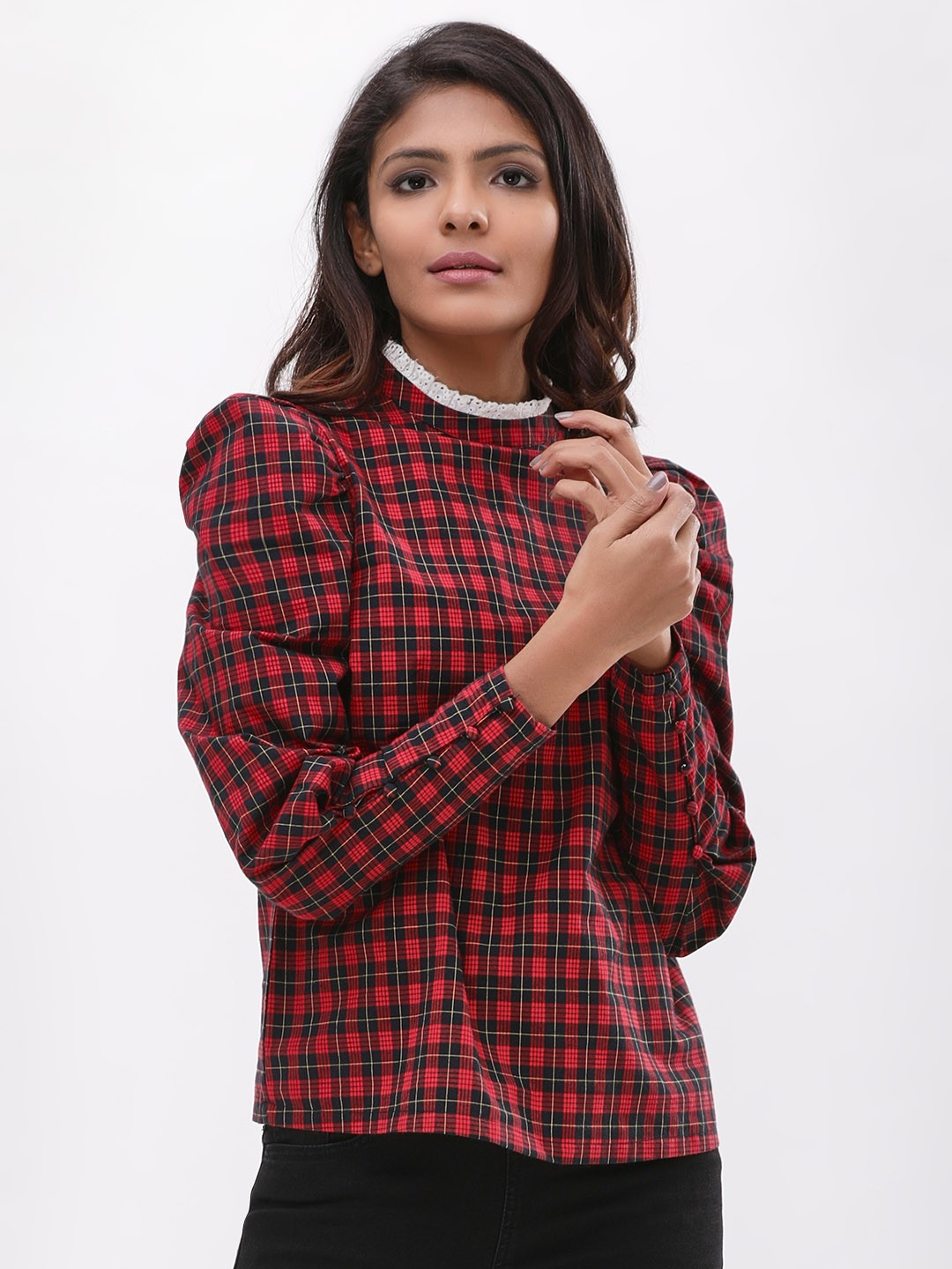 New Look RED PATTERN Tartan Puff Sleeve Top 1