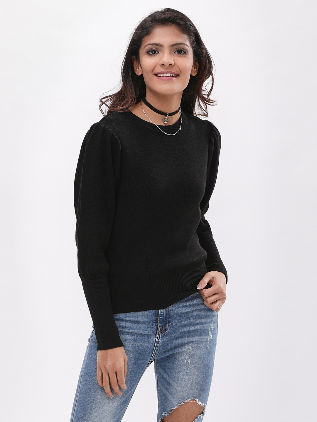 New Look Black Mutton Sleeve Jumper 1
