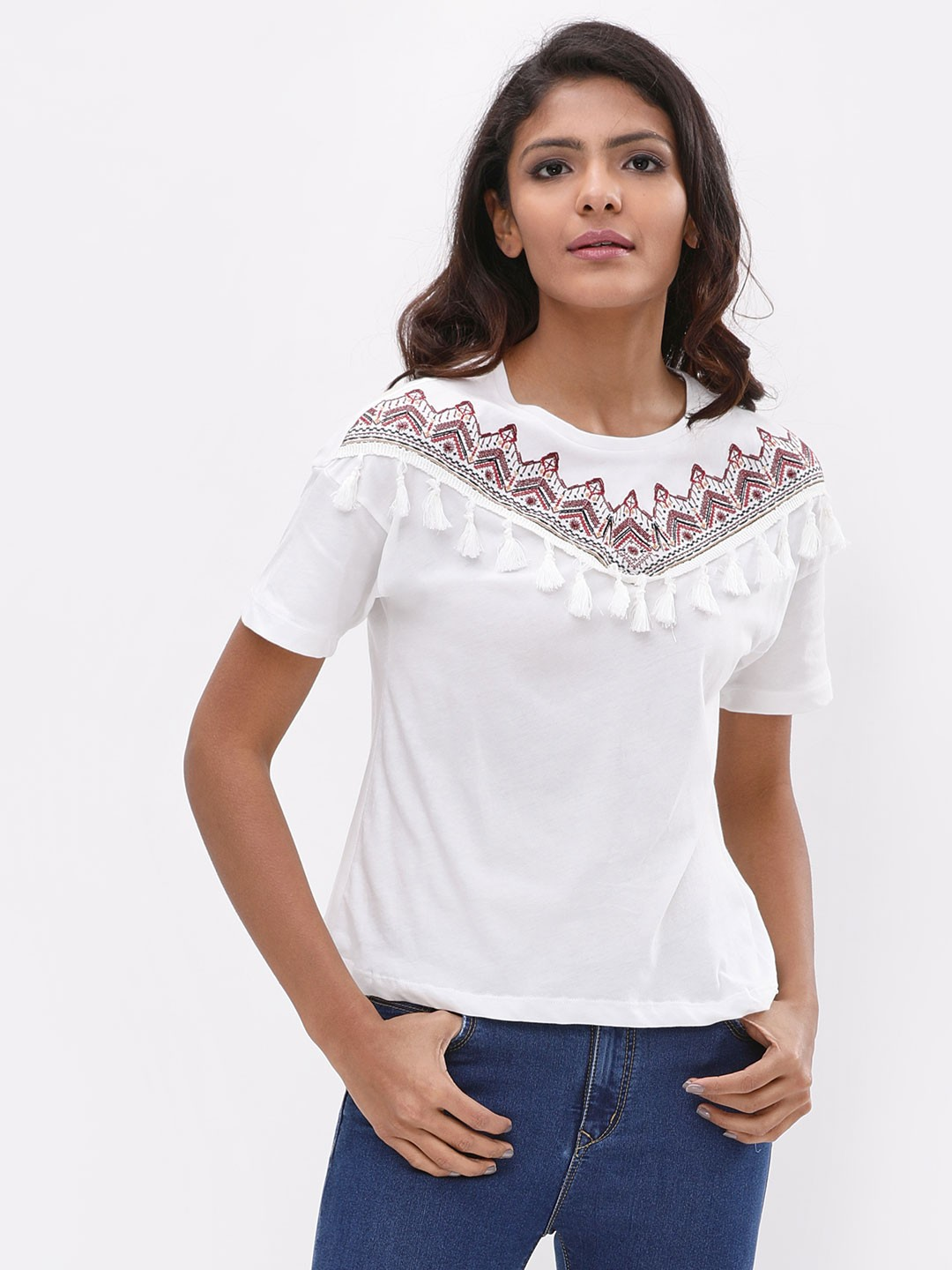 New Look Cream Embroidered Tassel Top 1
