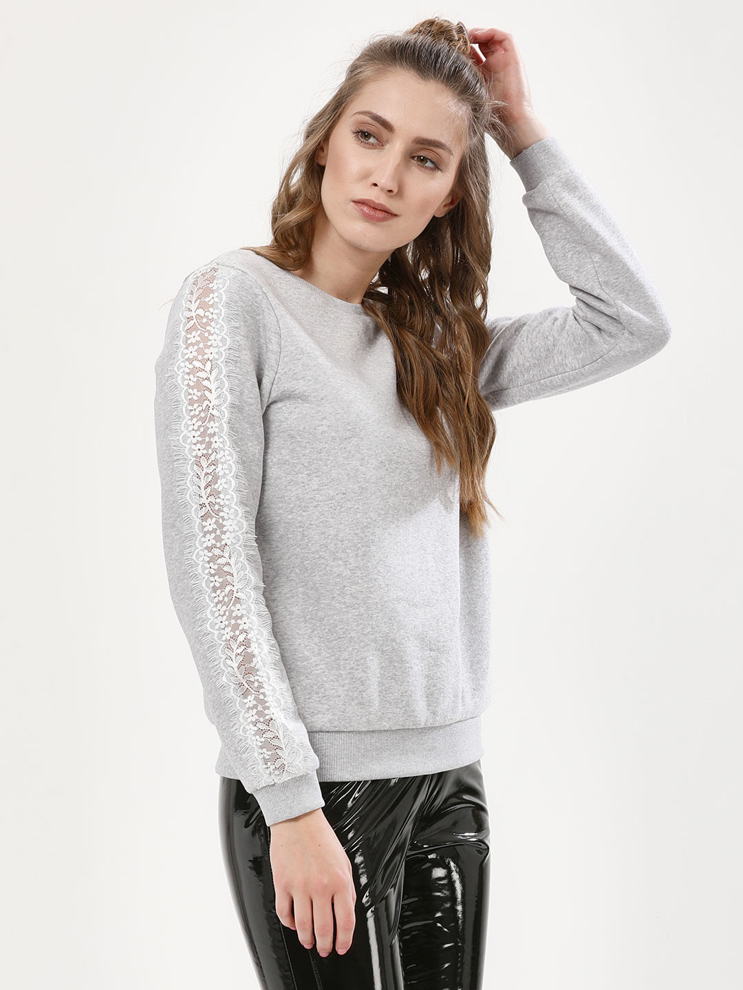 Femella Grey Lace Insert Crew Neck Sweatshirt 1