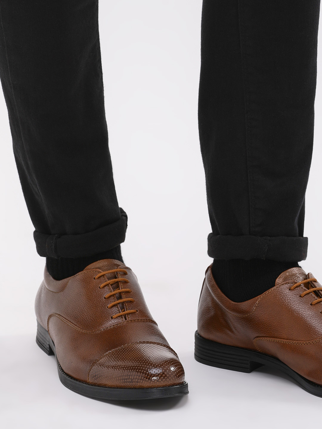 KOOVS Tan Oxford Shoes With Perforated Toe Cap 1