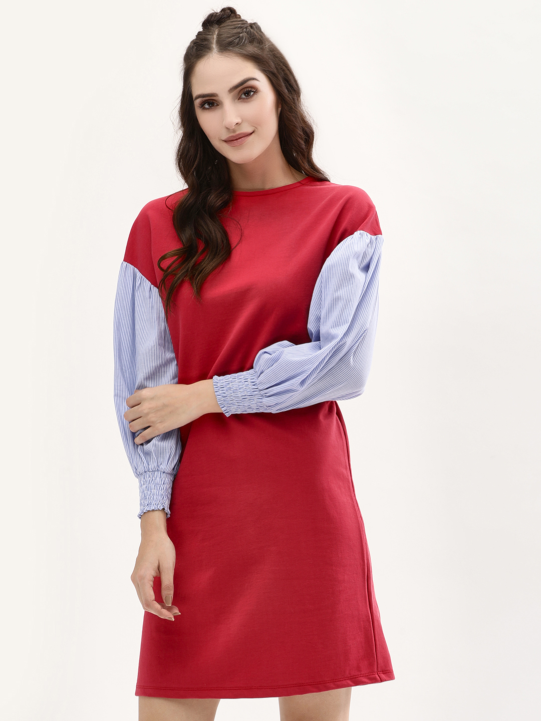 Beyond Clouds Red Contrast Volume Sleeve Shift Dress 1