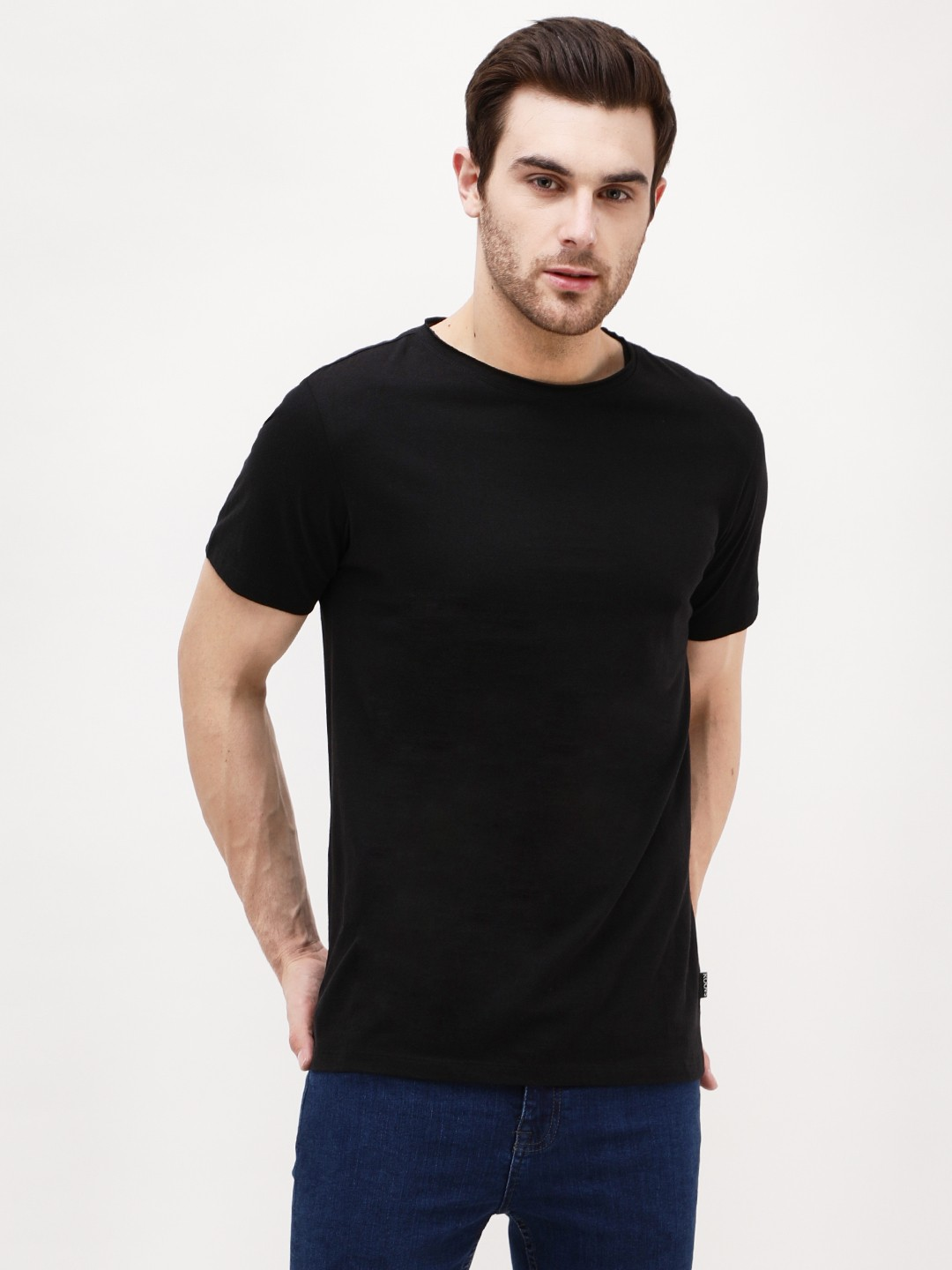 KOOVS Black Basic Crew Neck T-Shirt 1