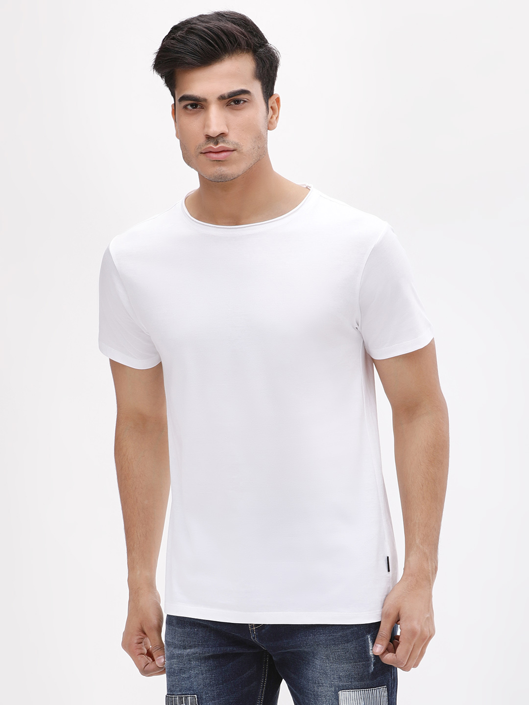 KOOVS White Crew Neck Slim Fit T-Shirt 1