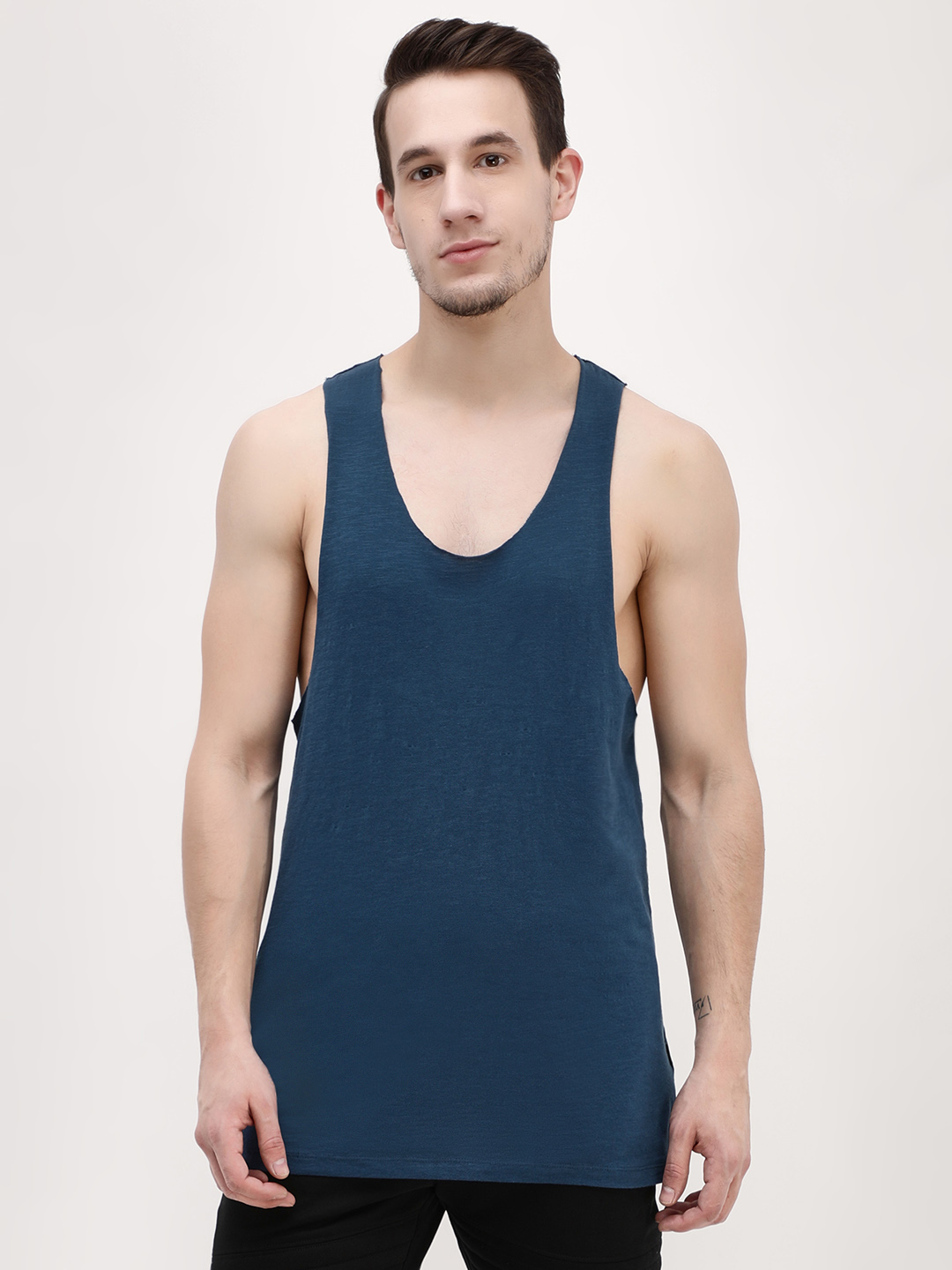 KOOVS Navy Raw Edge Racer Back Vest 1
