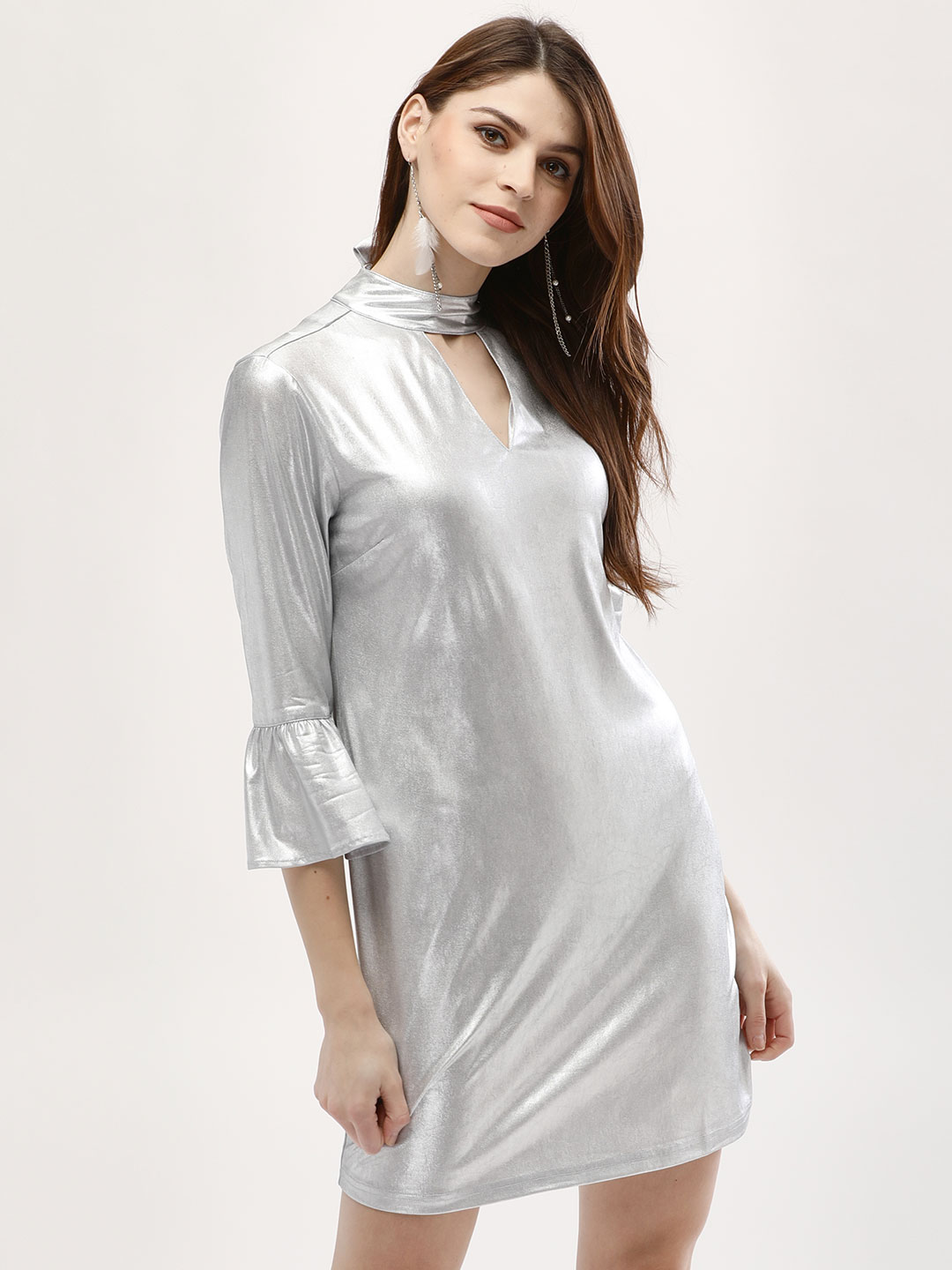 KOOVS Silver Metallic Choker Neck Shift Dress 1