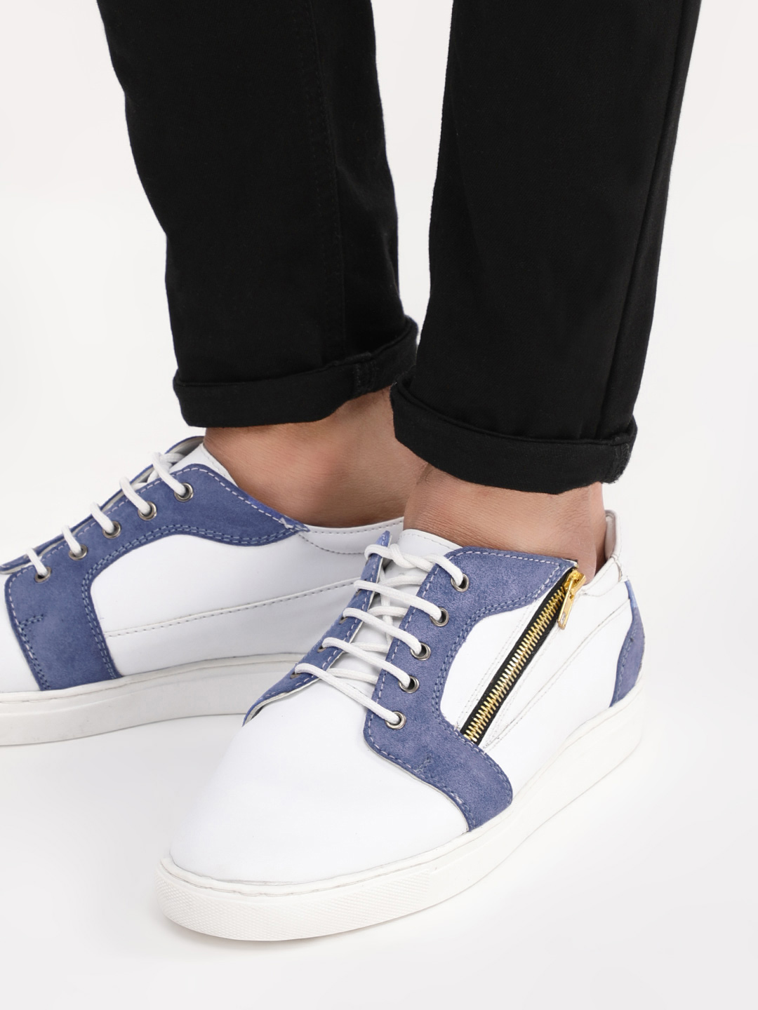 Tread White/Blue Sneakers With Side Zip Detail 1