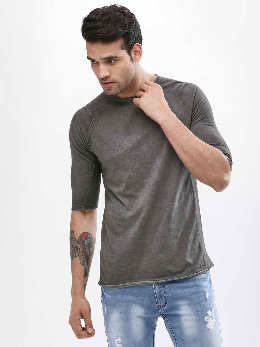 Blue Saint Steel Grey Crew Neck Raglan T-Shirt 1