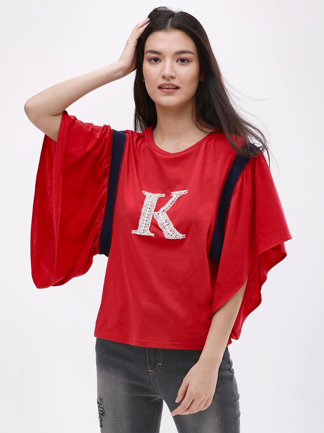 KOOVS Red K Pearl Embellished T-Shirt 1