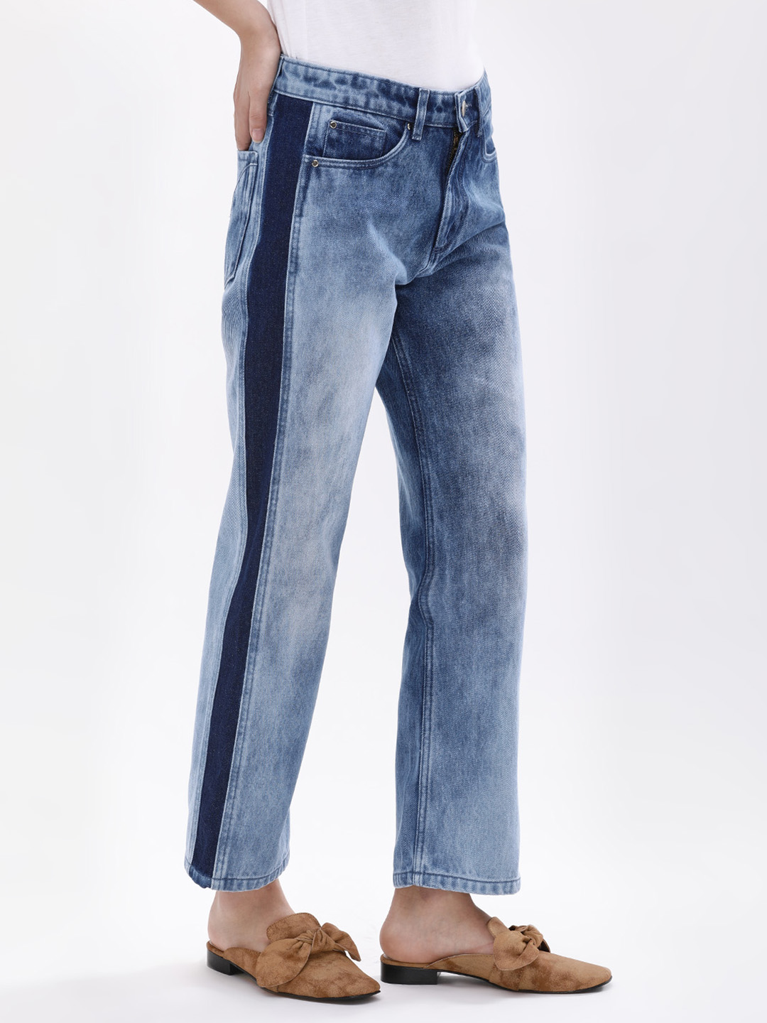 K Denim Blue KOOVS  Margot Glitch Straight Jeans 1