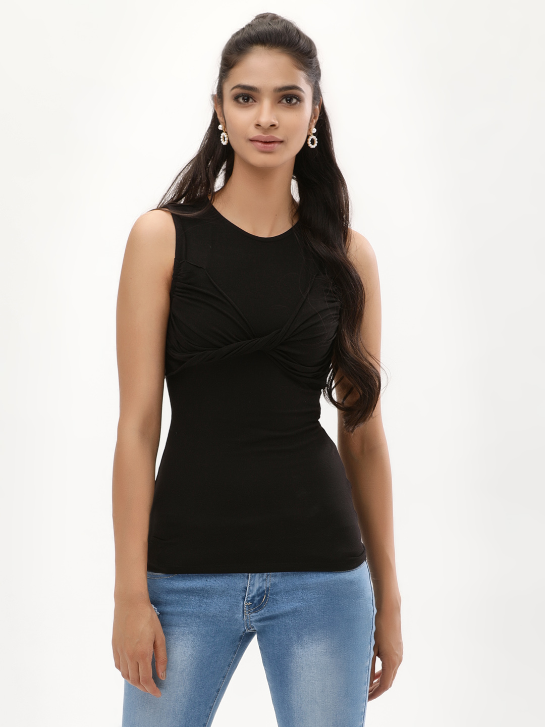 KOOVS Black Twisted Front Top 1