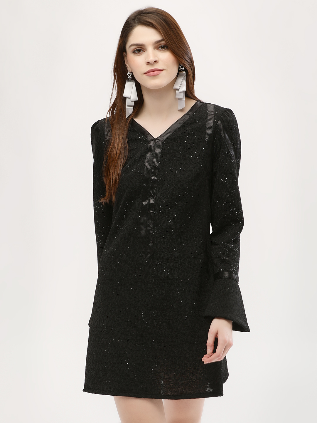 KOOVS Black Glitter Jersey Bell Sleeve Dress 1