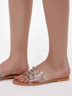CAI Clear Strap Studded Slides...