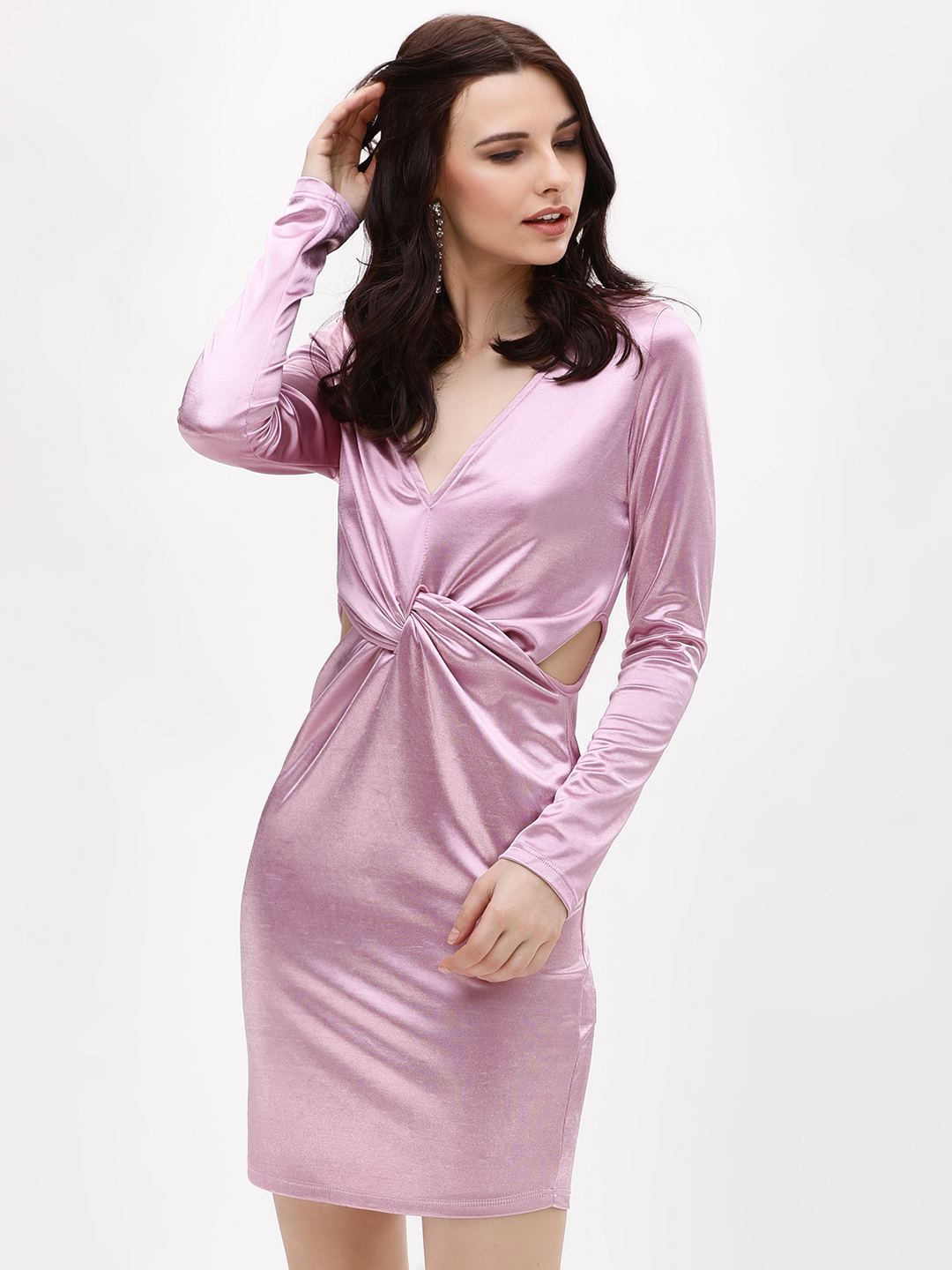 Glamorous Pink Twist Knot Bodycon Dress 1