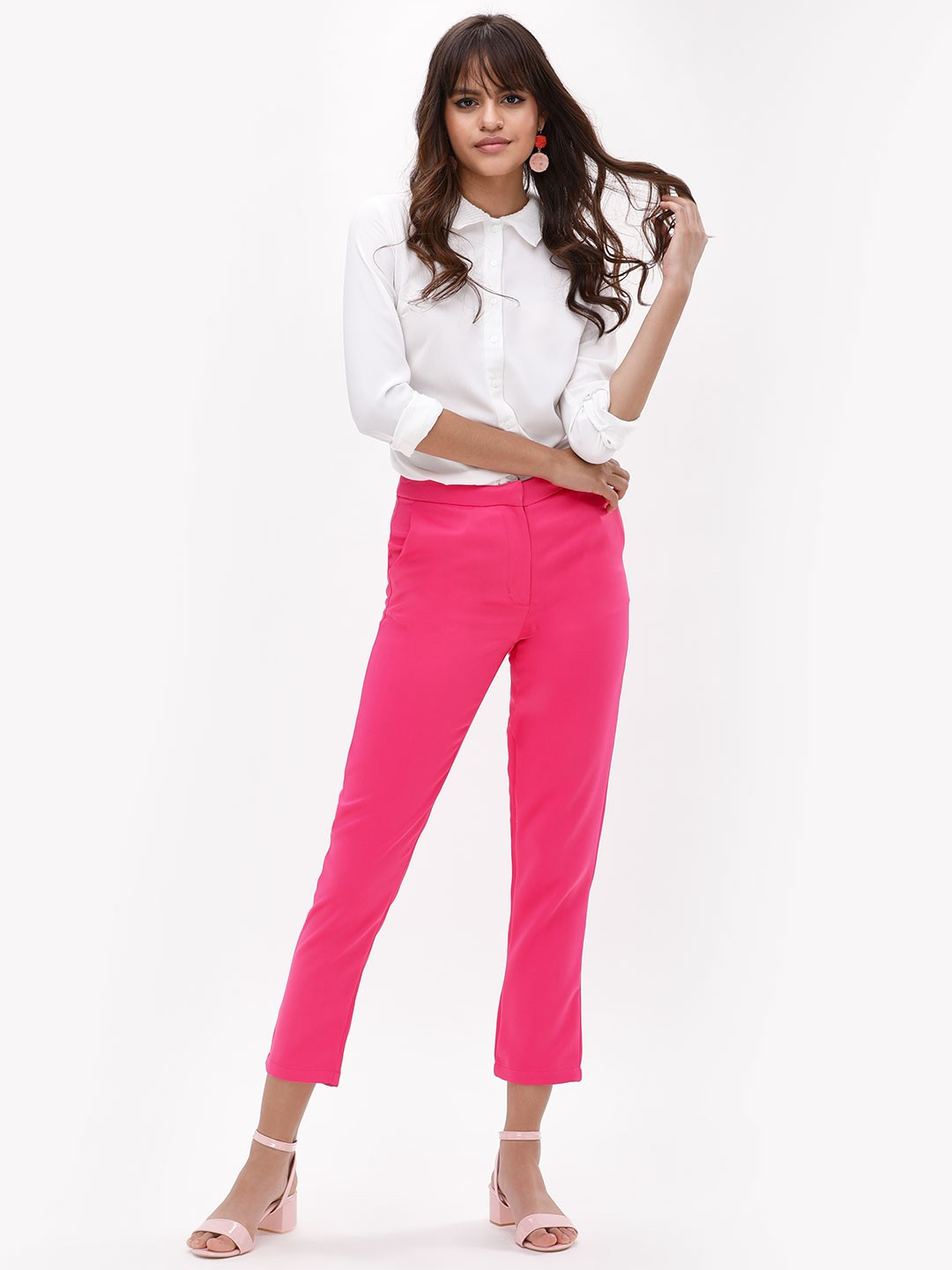 Glamorous Hot Pink Mid Waist Slim Trousers 1