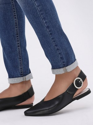 KOOVS Pointed Flat Buckle Shoe...