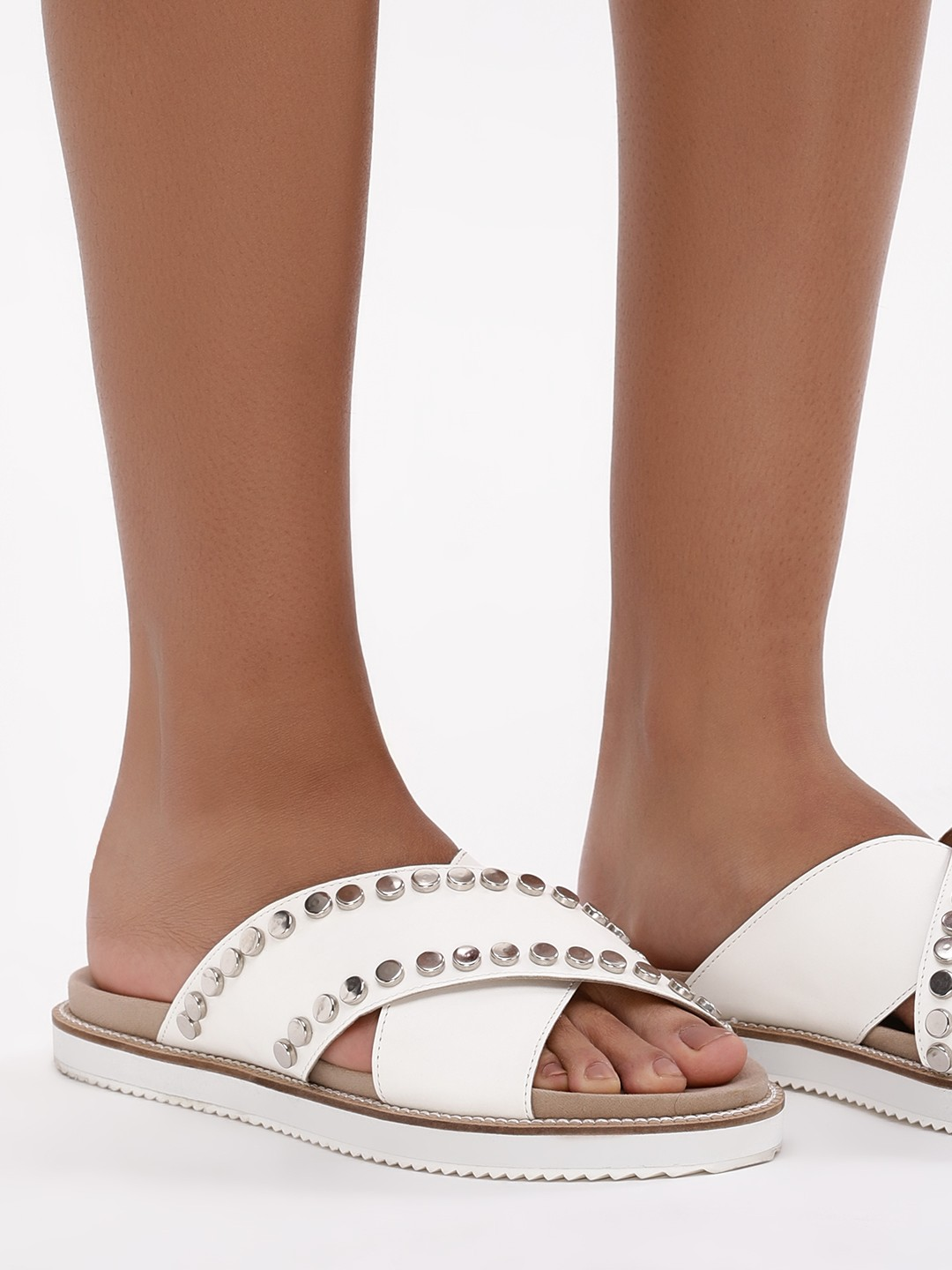KOOVS White Studded Cross Strap Sandals 1