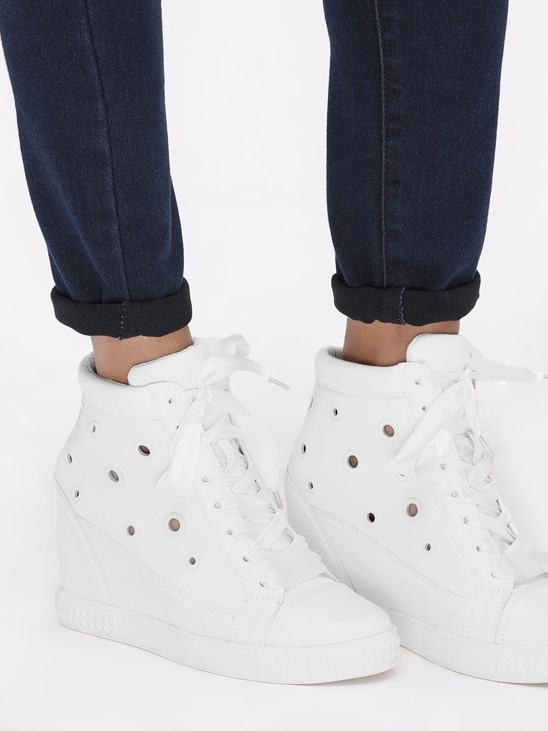 My Foot Couture White Eyelet Detail Wedge Trainers 1