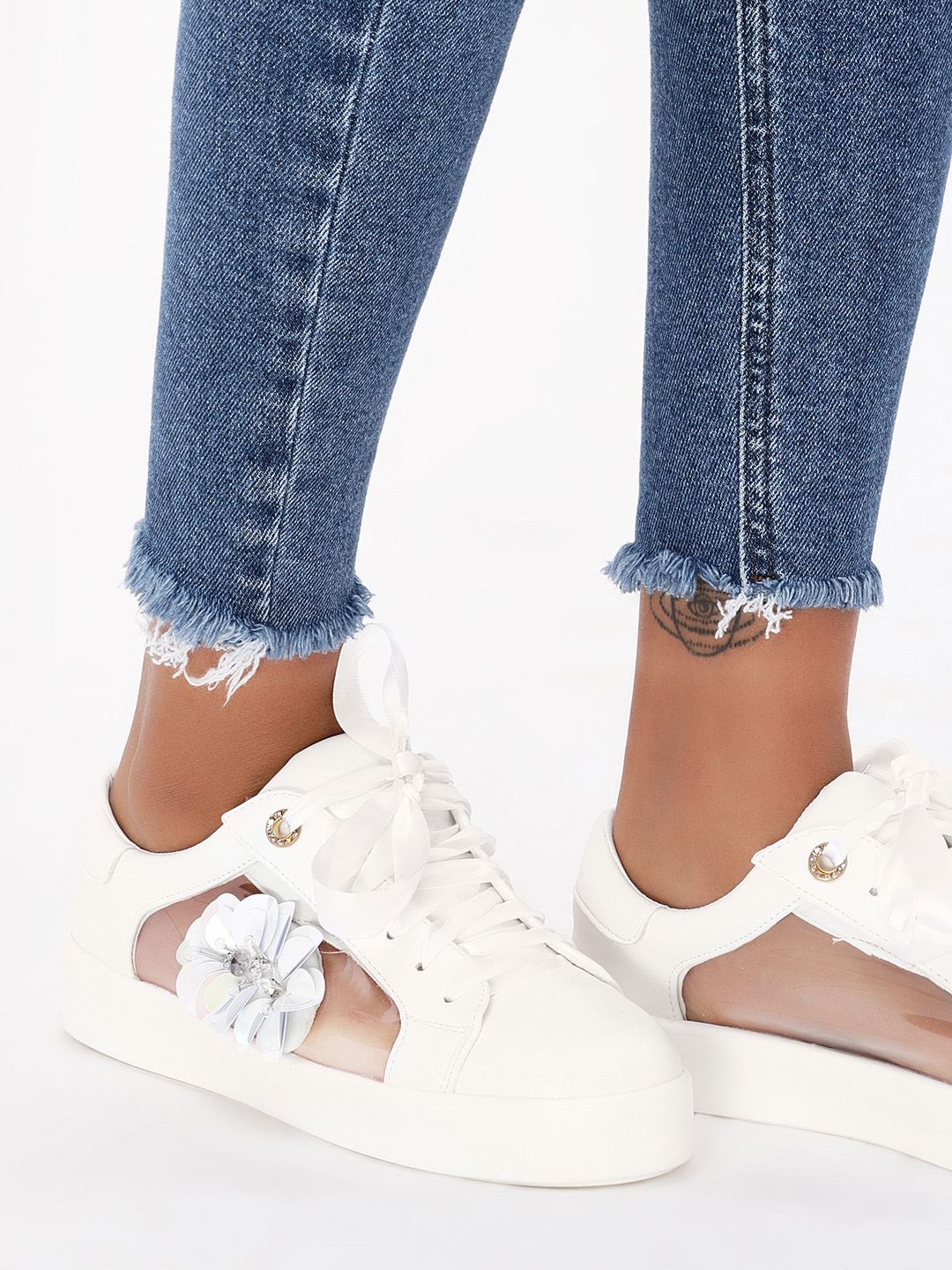 My Foot Couture White See Through Embellished Trainers 1