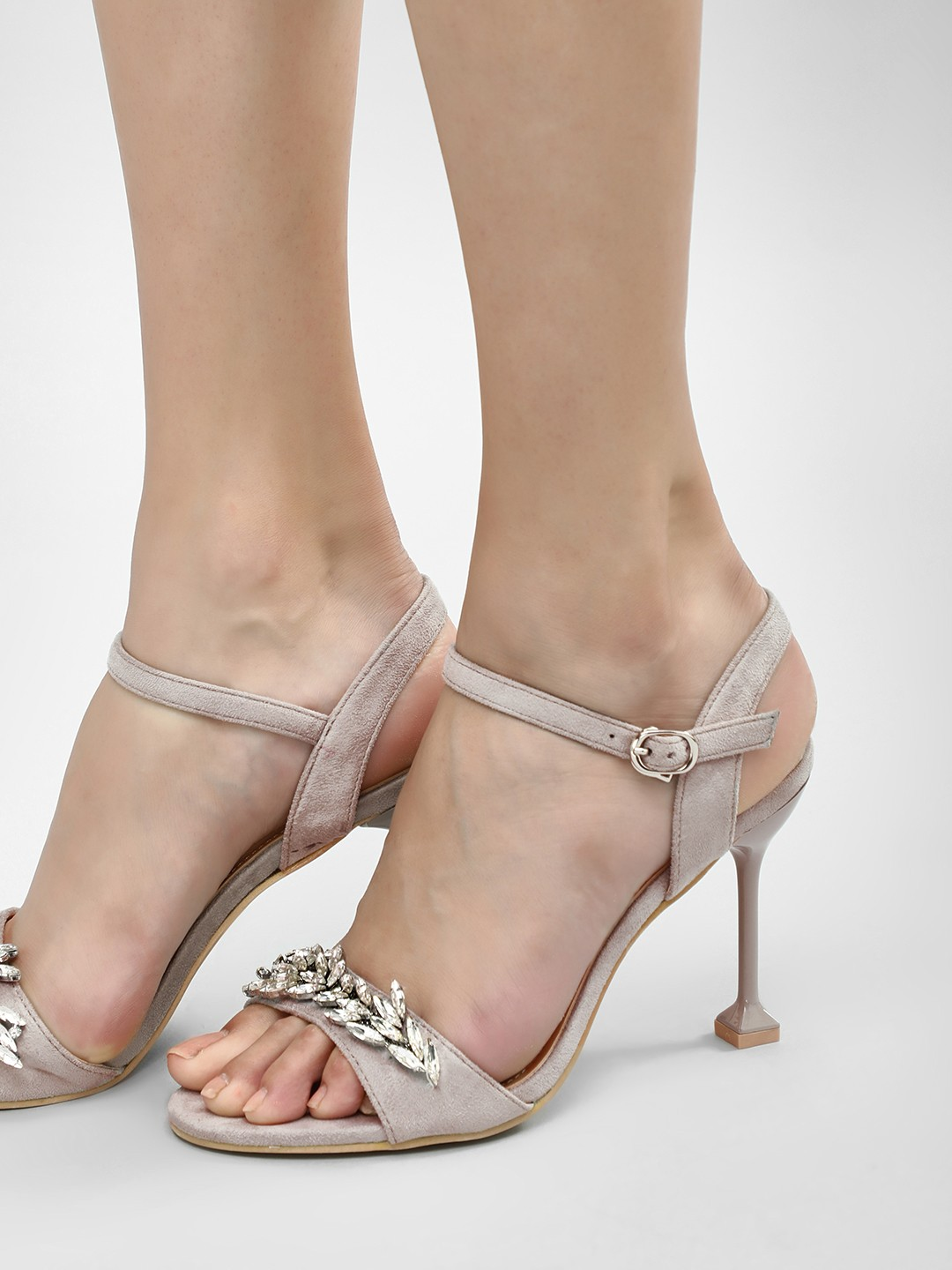 My Foot Couture Grey Embellished Heeled Sandals 1