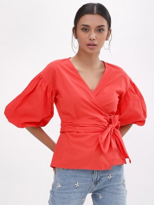 KOOVS Puff Sleeve Wrap Top...