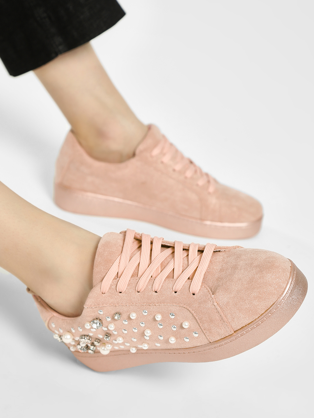 Sole Story Pink Pearl & Gem Embellished Sneakers 1