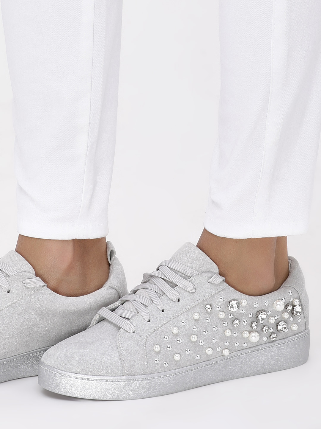 Sole Story Grey Pearl & Gem Embellished Sneakers 1
