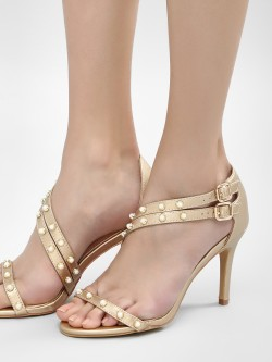 Sole Story Pearl Detail Strappy Heeled Sandals