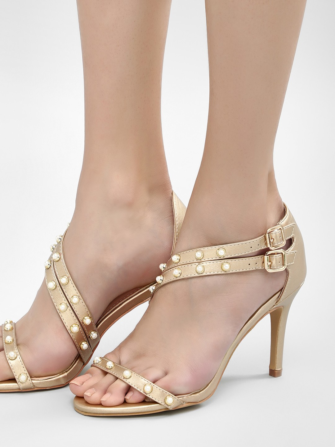 Sole Story Matte Gold Pearl Detail Strappy Heeled Sandals 1