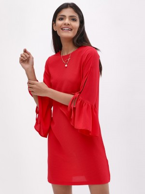 KOOVS Flute Sleeves Shift Dres...