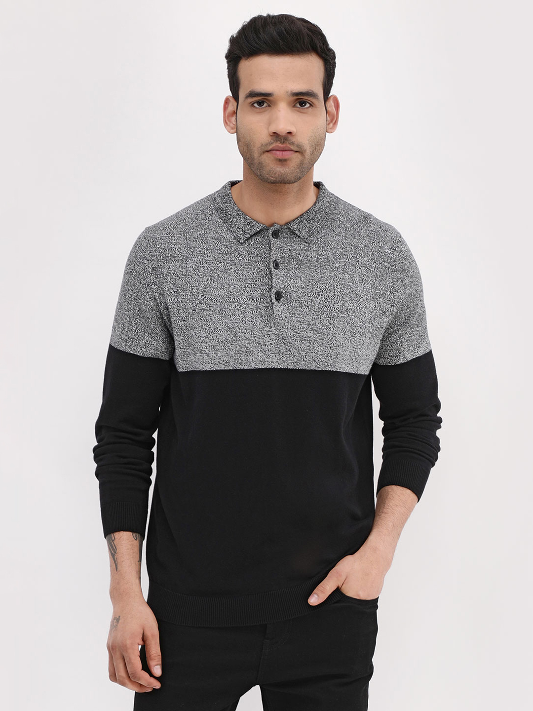 New Look Black Colour Block Polo Shirt 1
