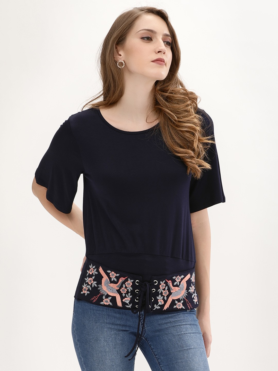 Origami Lily Navy Embroidered Corset Top 1