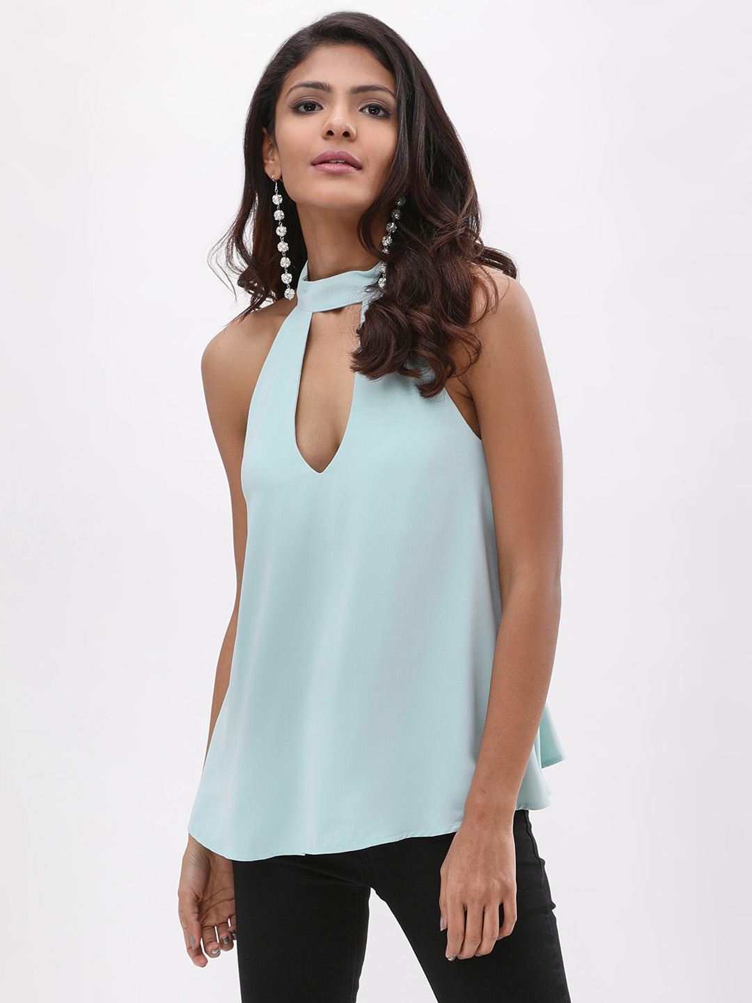 New Look Light Blue Choker Strappy Back Top 1