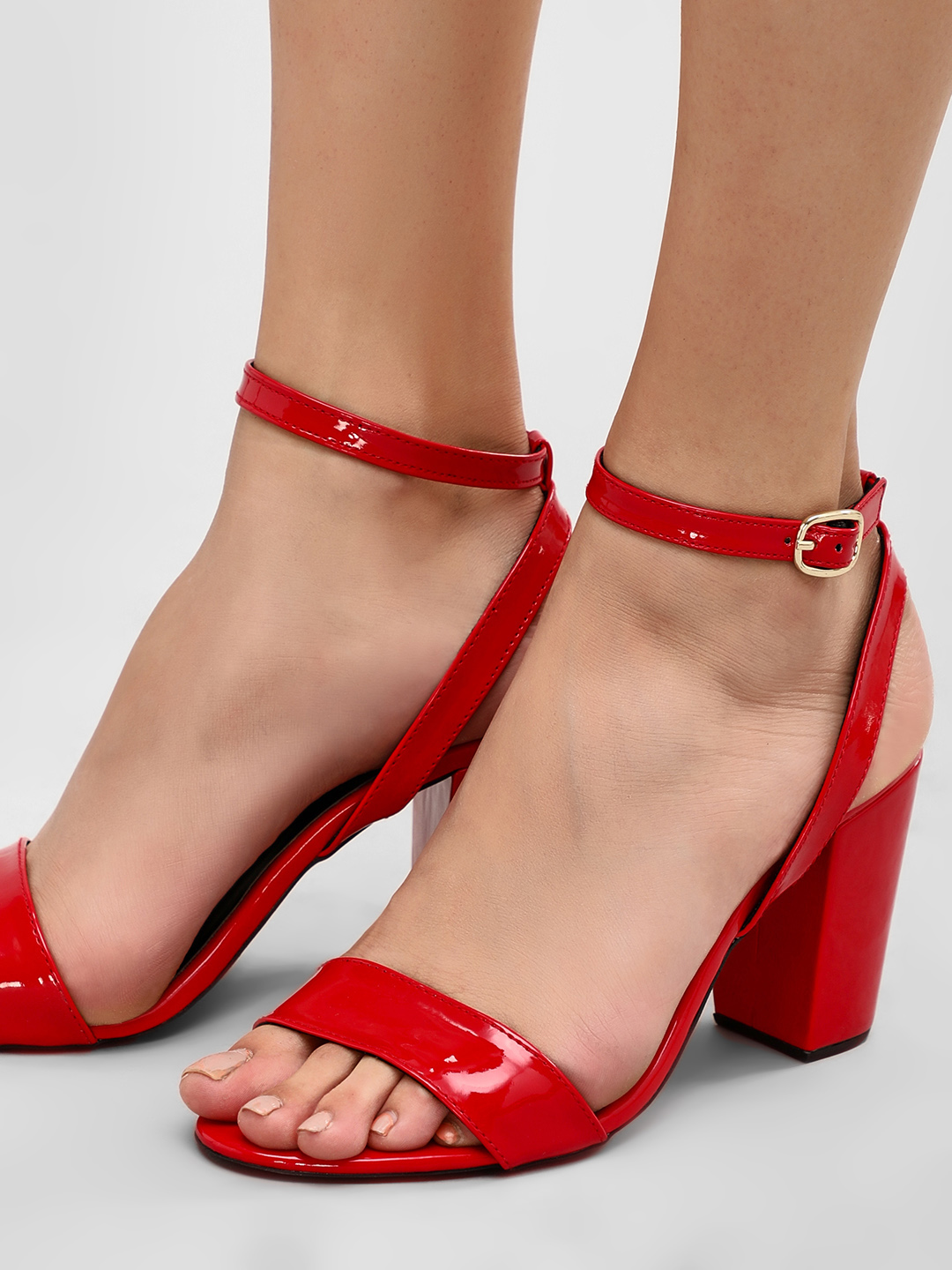 KOOVS Red Block Heeled Sandals 1