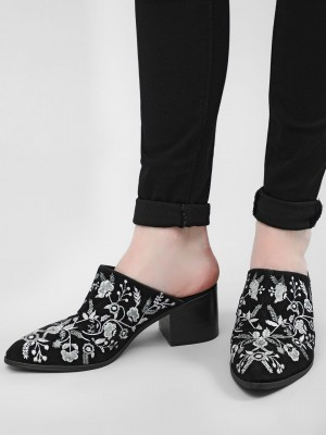 KOOVS Embroidered Western Mule...