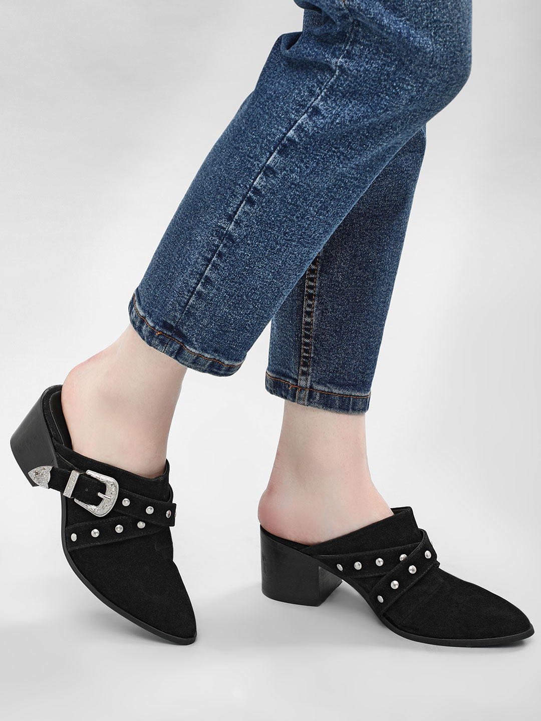 KOOVS Black Western Buckle Heeled Mules 1