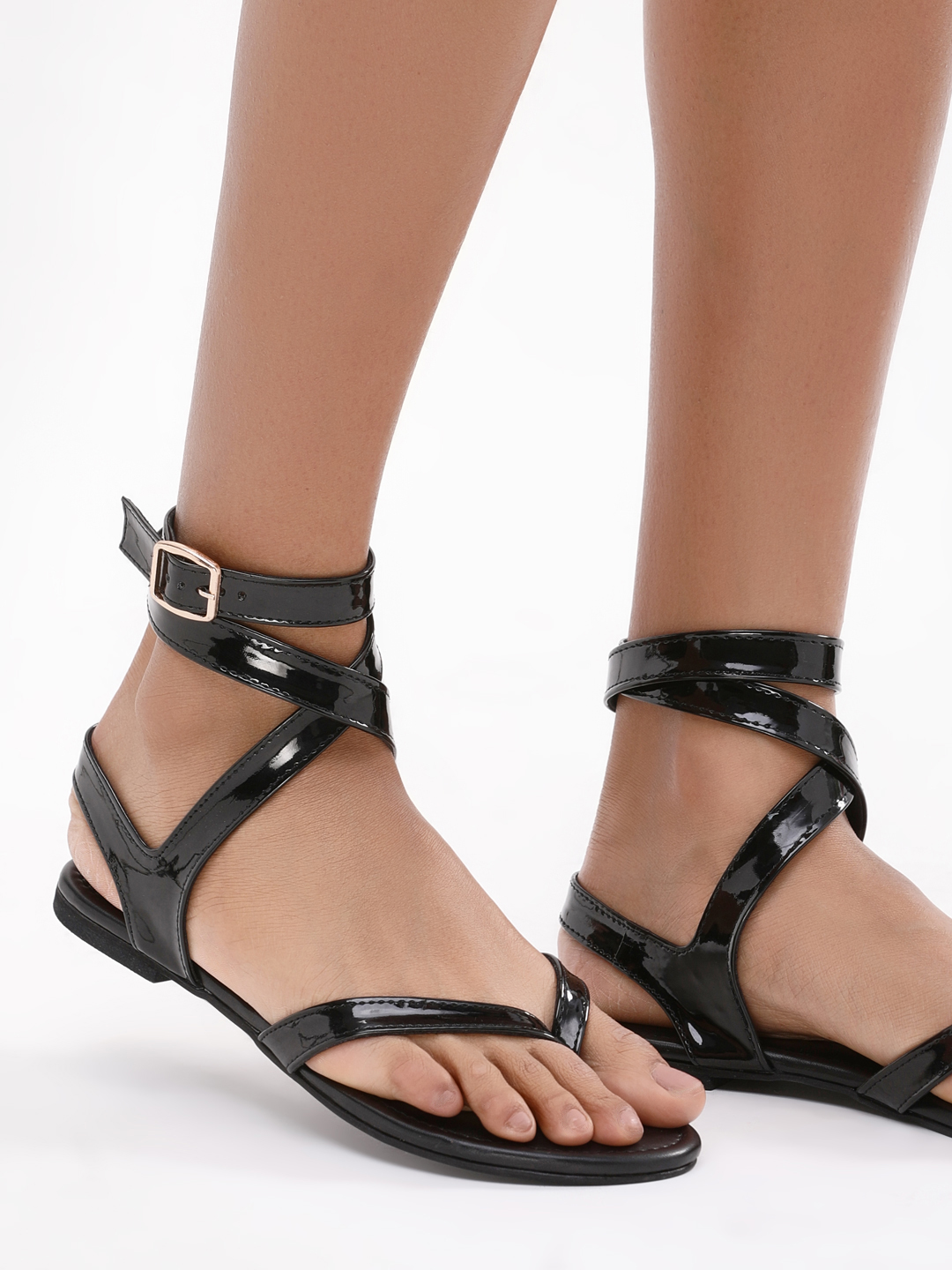 KOOVS Cross Ankle Strap Sandal...