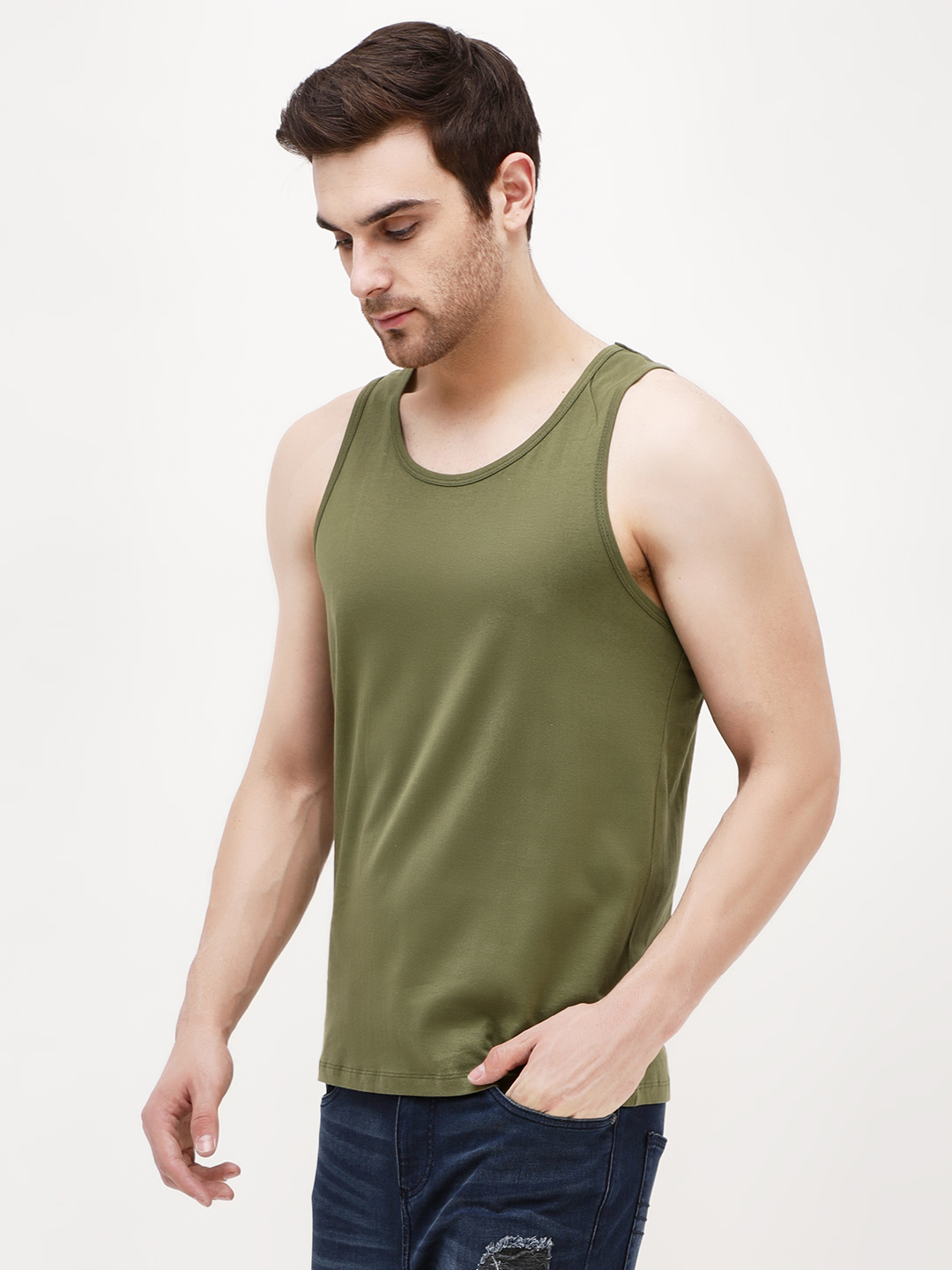 KOOVS Green Scoop Neck Classic Vest 1