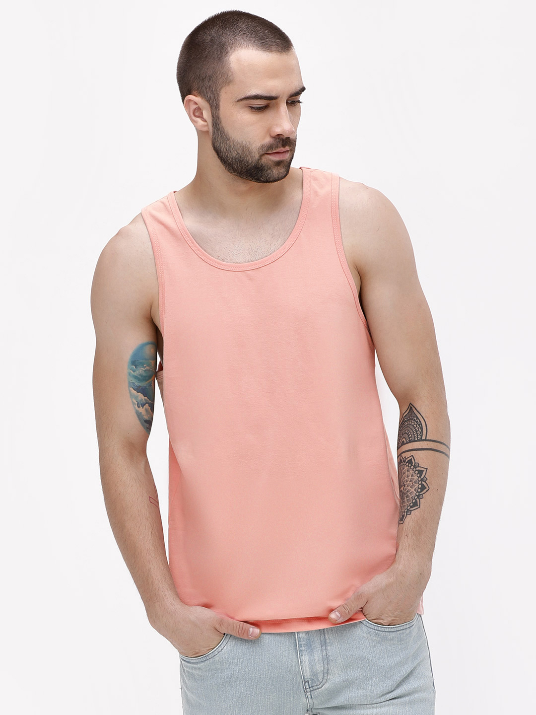KOOVS Pink Basic Scoop Neck Vest 1