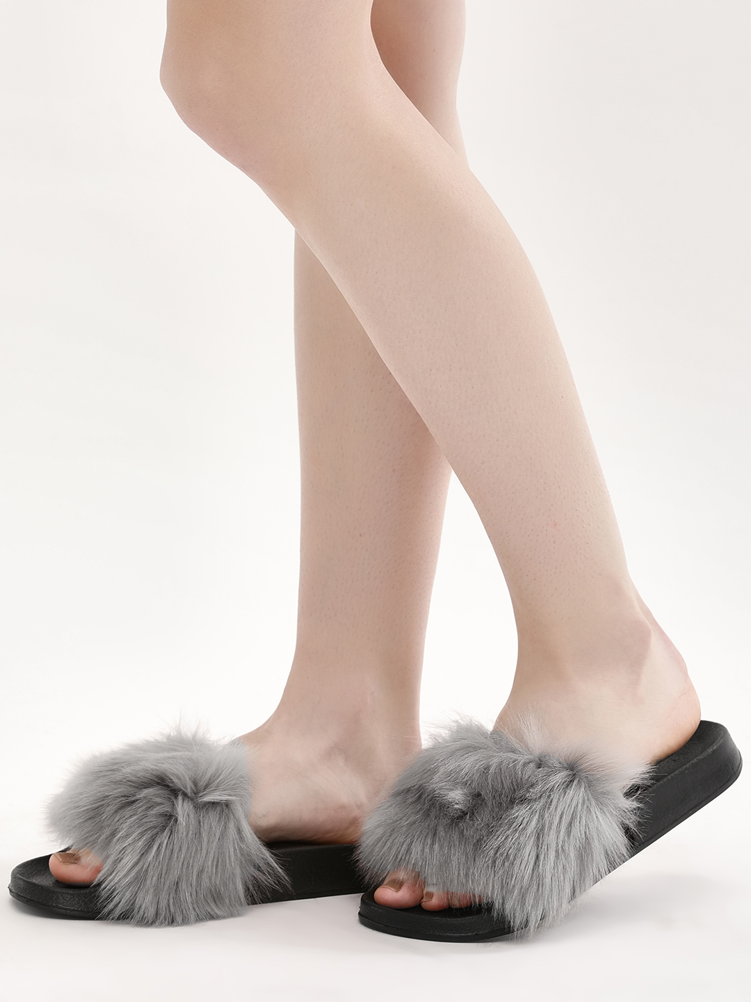 Truffle Collection Grey Furry Pool Sliders 1