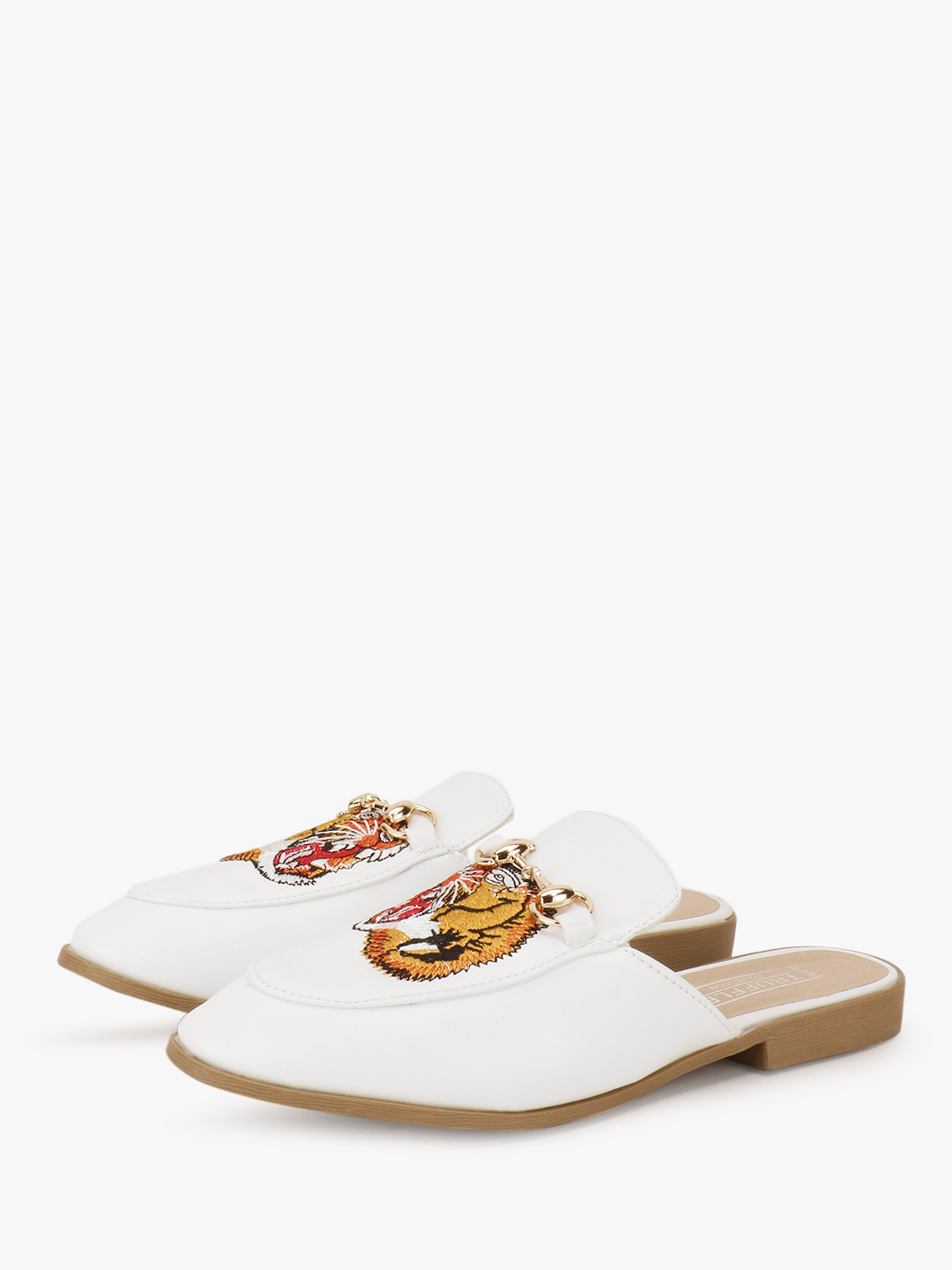 Truffle Collection White Tiger Embroidered Mules 1