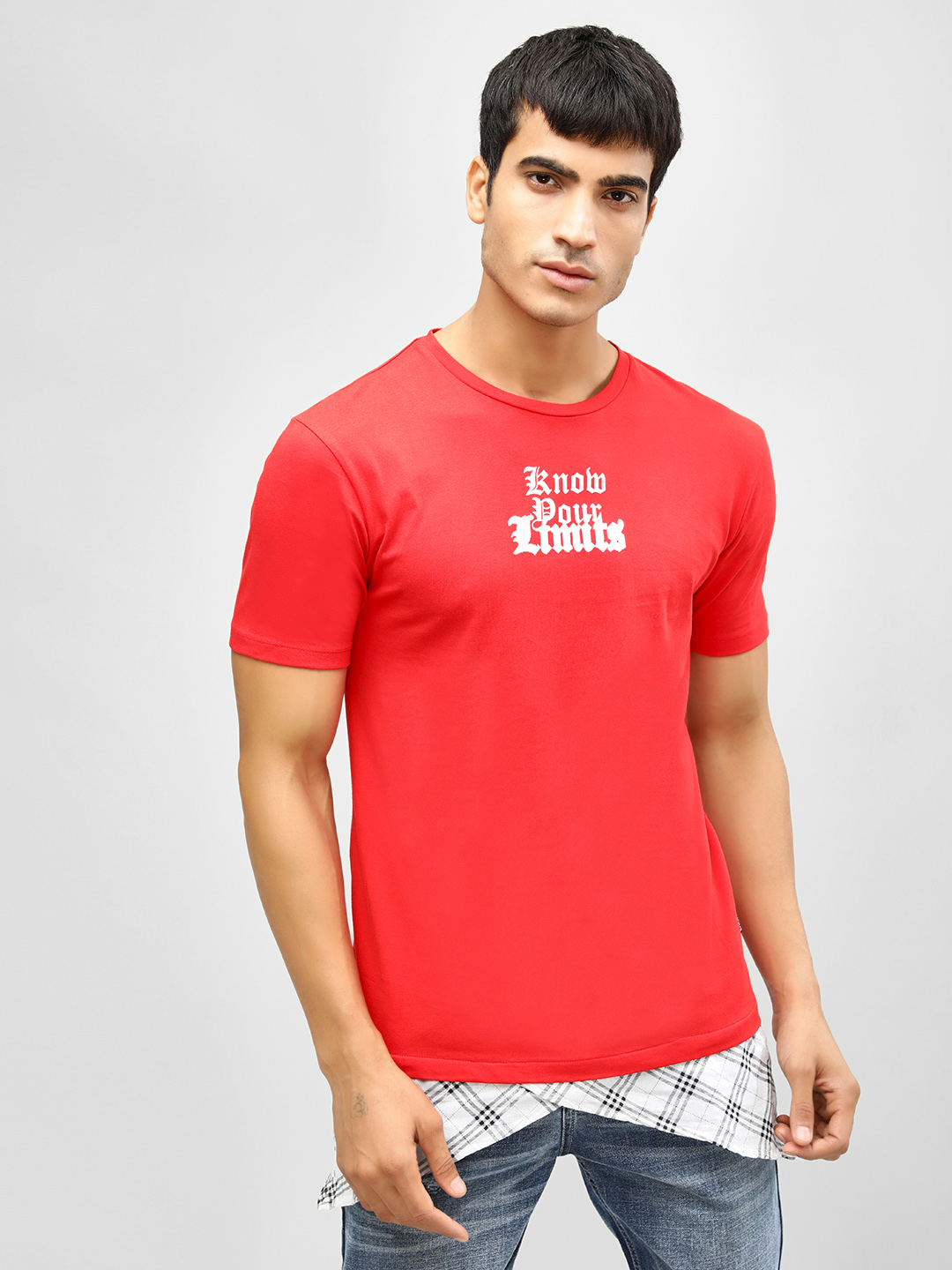 KOOVS Red Know Your Limits Checked Mock Hem T-Shirt 1